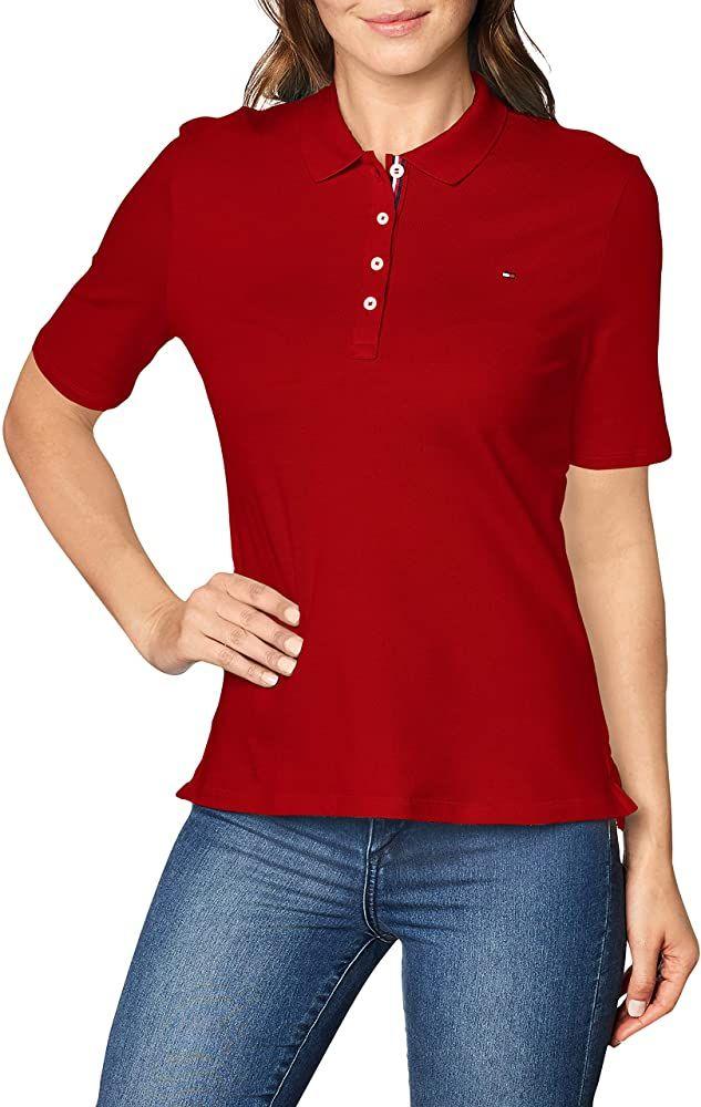Polo Tommy Hilfiger Th Essential Reg SS - Rouge pour Femme (Plusieurs Tailles)