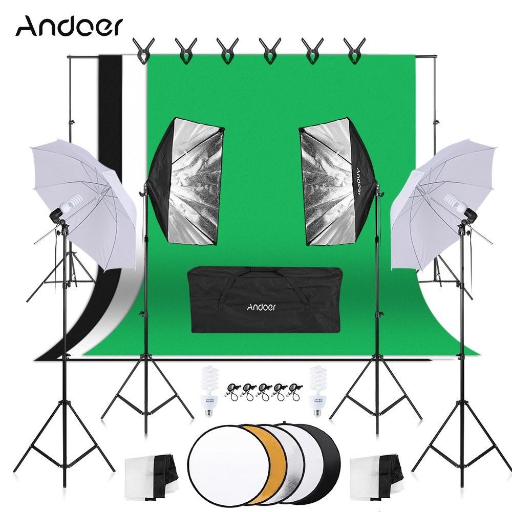 Kit studio photo Andoer : 3 Toiles de fond avec Support + 2 Softbox + 2 Parapluies + 4 Trépieds + 4 Ampoules 45W + Accessoires (Entrepôt EU)