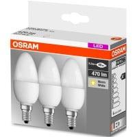 Sélection de lot de 3 ampoules Osram - Ex : Lot de 3 Ampoules Osram LED Flamme 5,3W E14 - Sélection de magasins