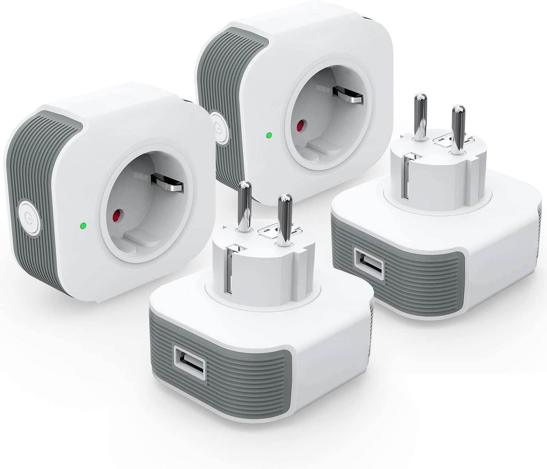 Lot de 4 prises connectées avec port USB Kkcool SB-122 - 16A, compatible Alexa et Google Home