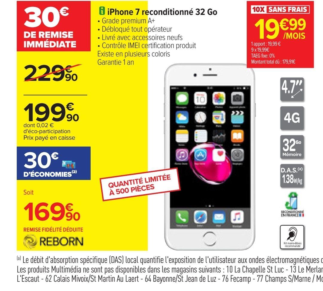 """Smartphone 4.7"""" Apple iPhone 7 - 32 Go (reconditionné A+ - via 30€ sur la carte fidélité)"""