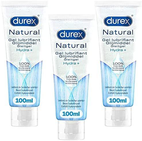 Lot de 3 Gels Lubrifiants Durex Naturels Hydratants - Base Eau, Acide Hyaluronique (Vendeur Tiers)