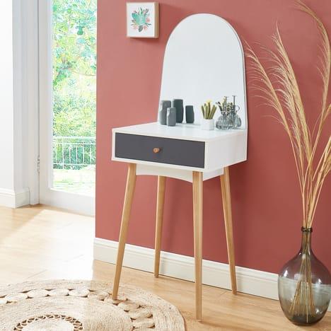 Coiffeuse avec miroir et grand tiroir Marie - L 50cm