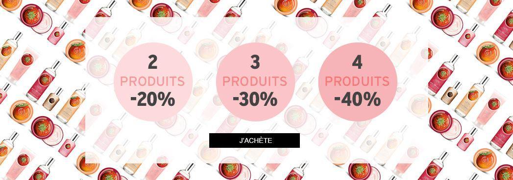 20% de réduction dès 2 produits achetés, -30% dès 3 produits et -40% dès 4 produits achetés (hors nouveautés)