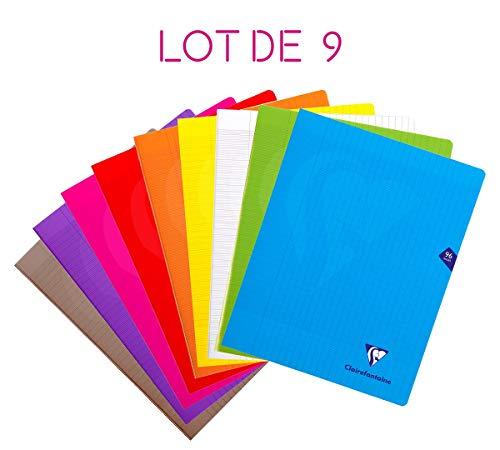 Lot de 9 Cahiers Clairefontaine 96 Pages Grands Carreaux avec couverture intégrée - 24x32 cm