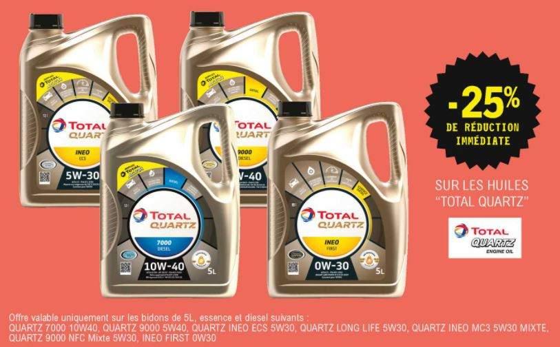 25% de réduction sur une sélection d'huiles Total Quartz (5L)