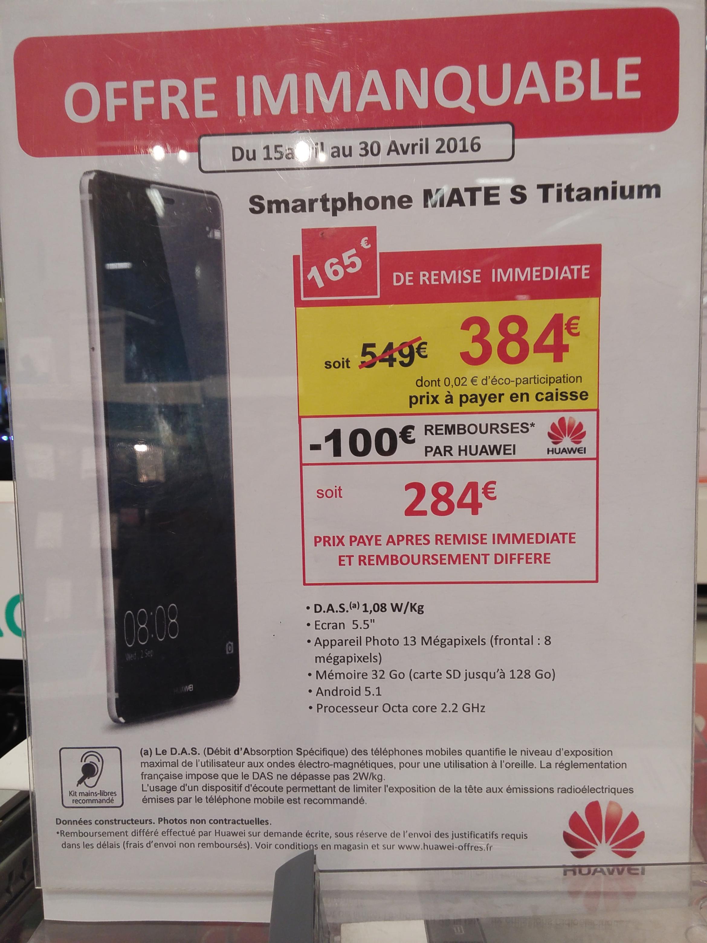 Sélection d'articles Huawei en promo - Ex : Smartphone  Huawei Mate S (via ODR 100€)