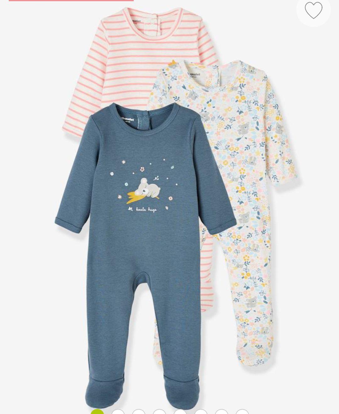 Lot de 3 pyjamas bébé Jungle coton dos pressionné Oeko-Tex