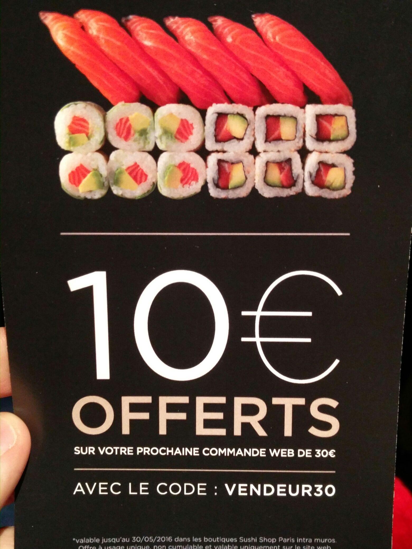 10€ de réduction dès 30€ d'achat