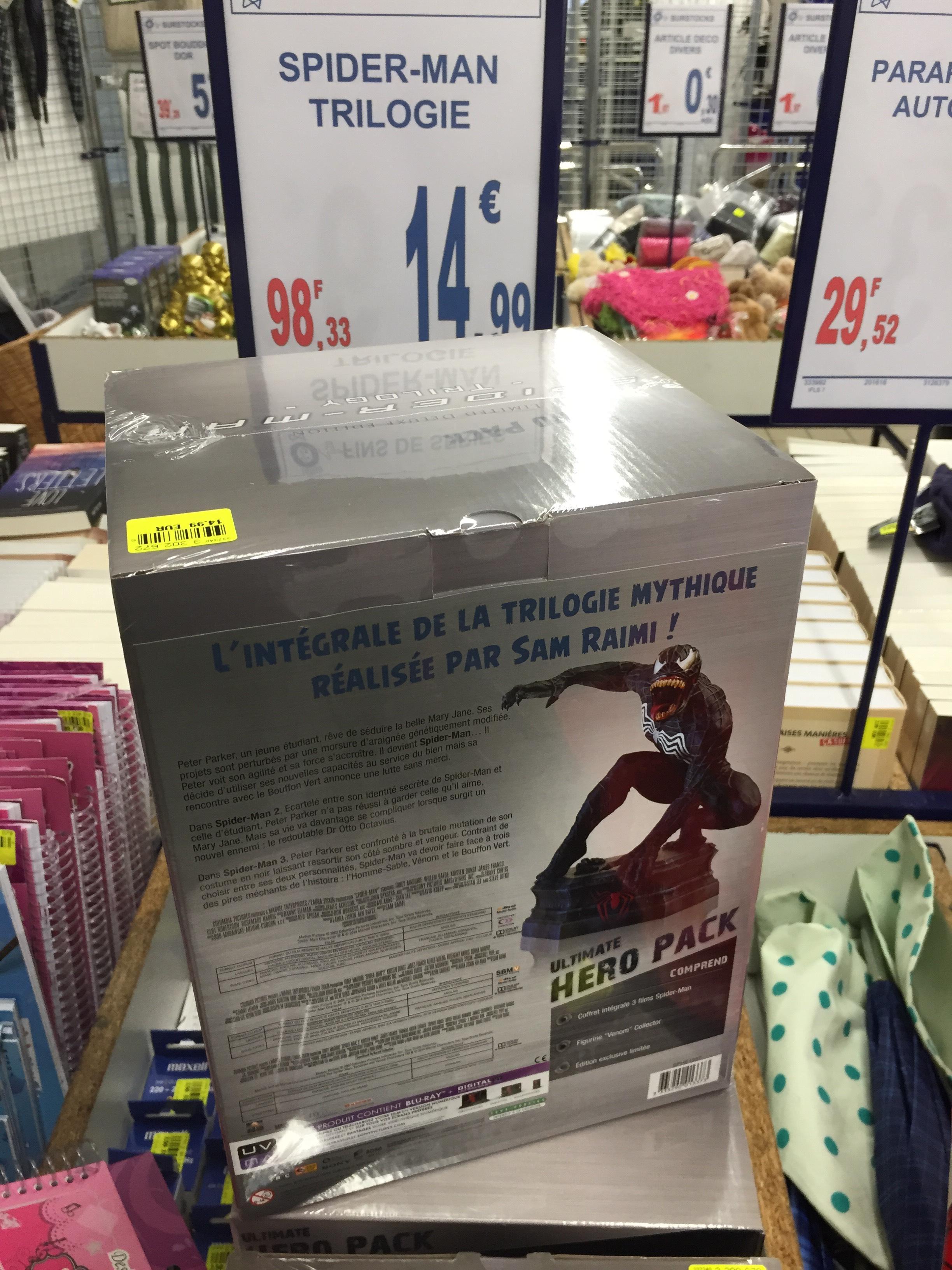 Coffret Blu-ray : Trilogie Spider-Man Hero Pack + figurine Venom
