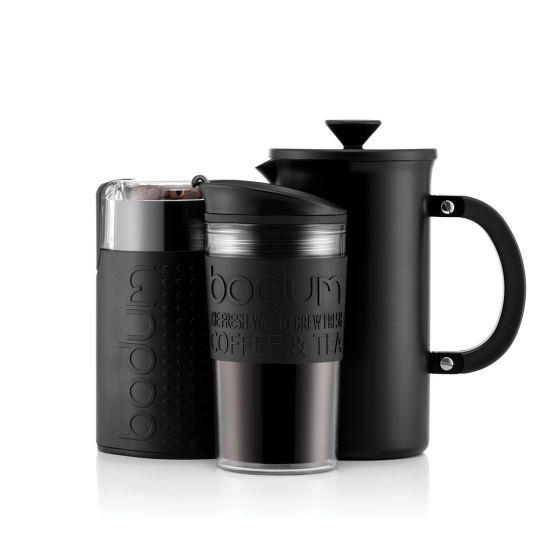 Tribute set Bodum Cafetière à piston 8 tasses/1.0l, mug de voyage et moulin à café