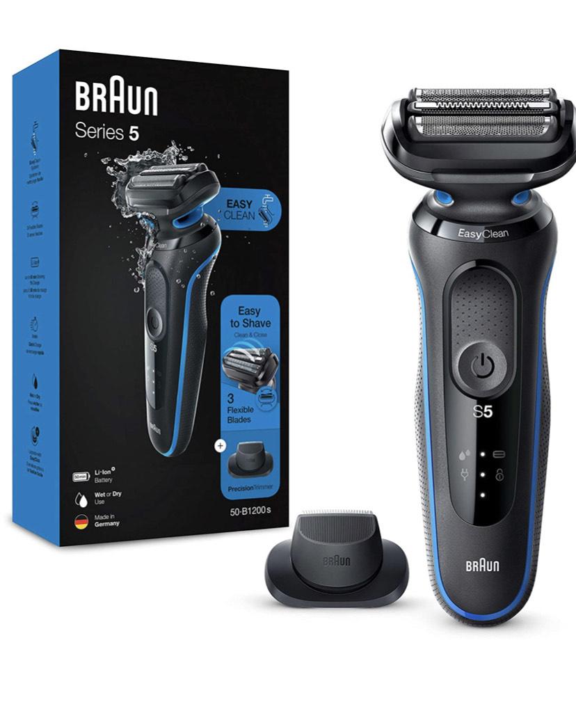 Rasoir Électrique Homme Braun Series 5 50-B1200s avec Tondeuse De Précision, Bleu