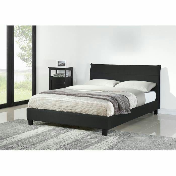 Lit Cesar + Sommier 140 x 190 cm - Tissu, Coloris noir