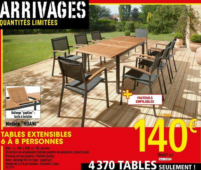 Table de jardin en Eucalyptus - 1m50 extensible à 2m, pieds en aluminium
