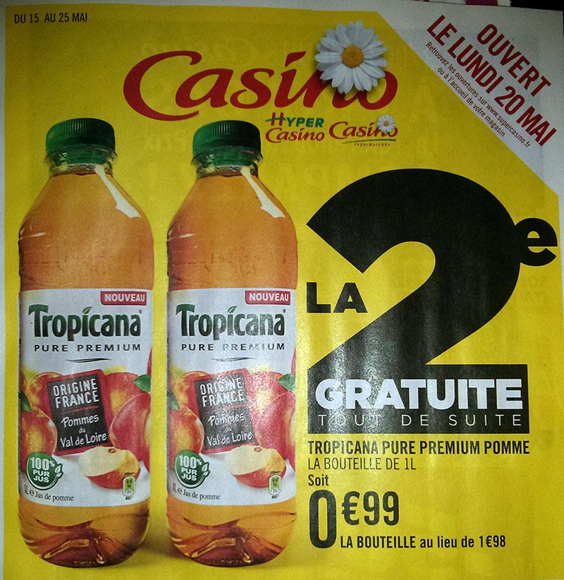 2 bouteilles de jus de pomme tropicana pure premium 1L