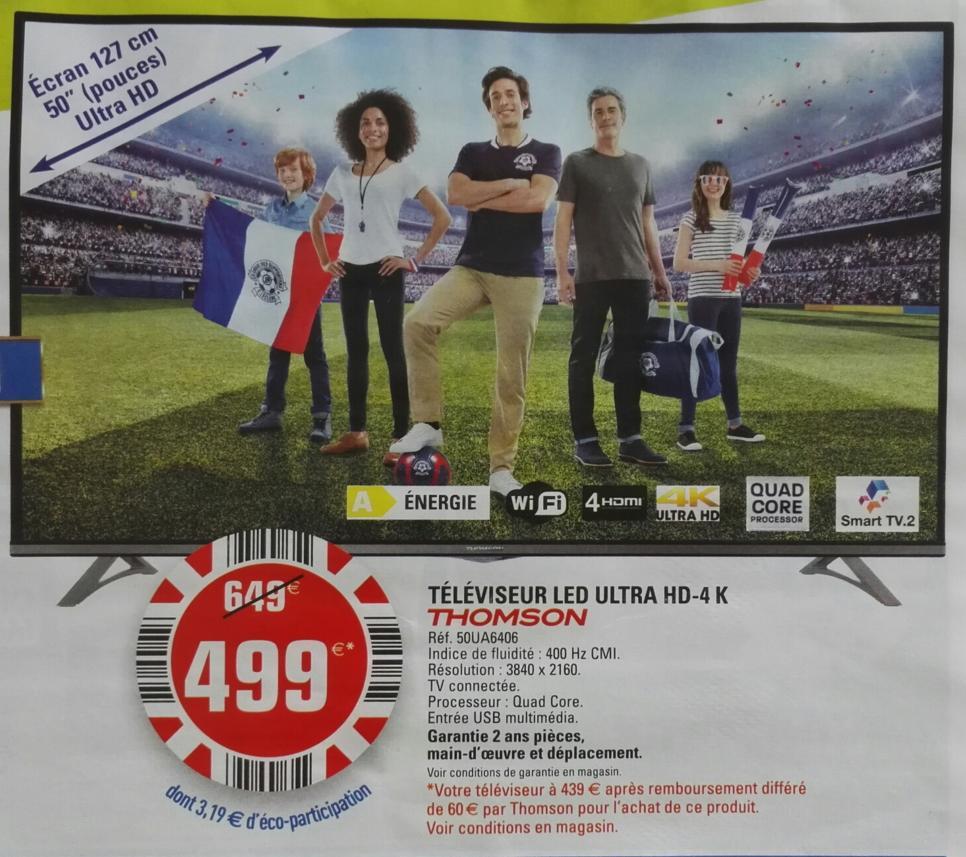 "TV 50"" Thomson 50A6406 UHD (via ODR 60€)"