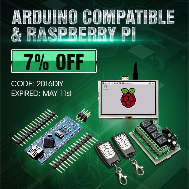 7%  de réduction sur le matériel Raspberry et arduino
