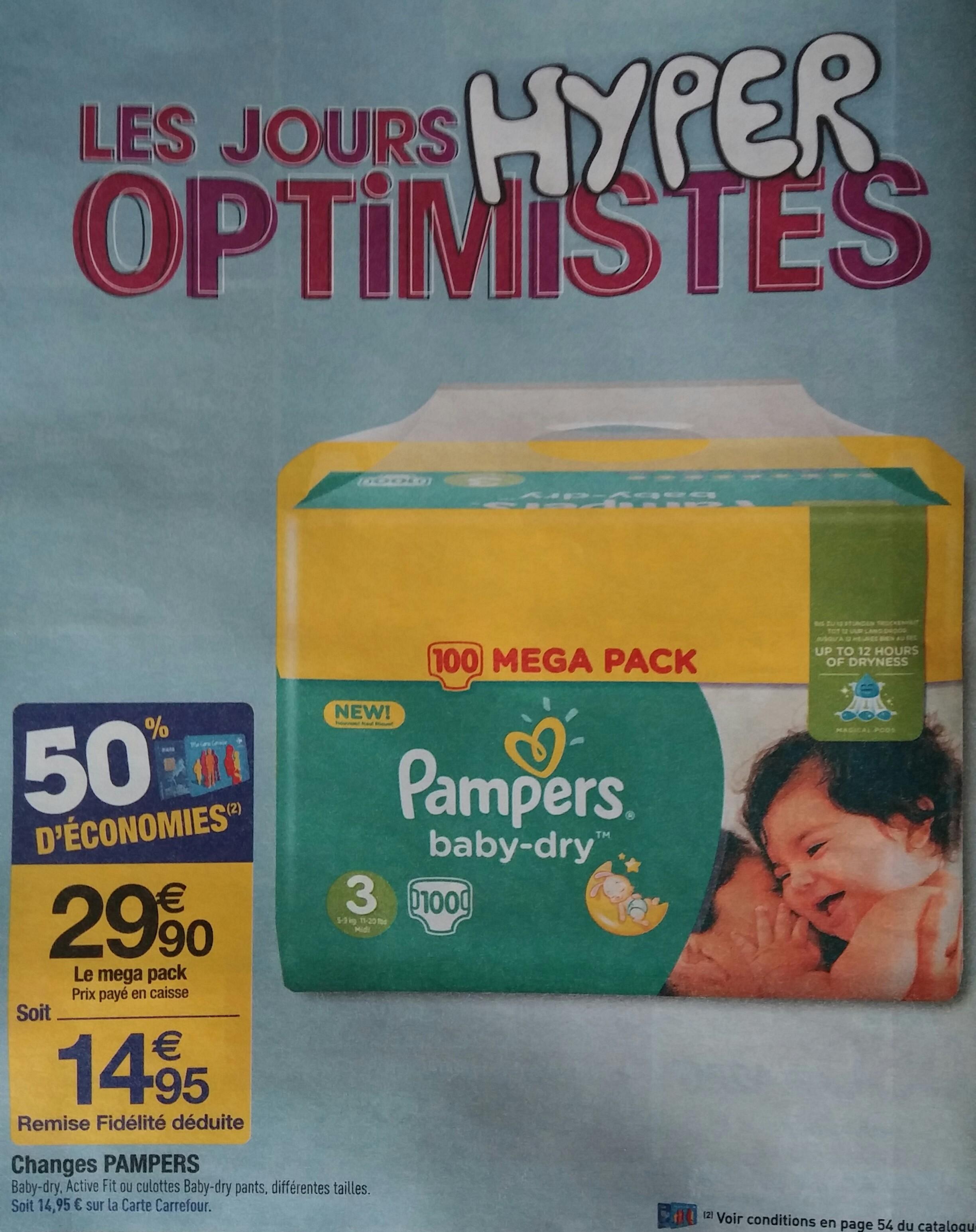 Lot de 100 Couches Pampers Baby-dry, Active Fit, Pants - Différentes tailles (via 14,95€ sur la carte de fidélité + BDR + C-Wallet)