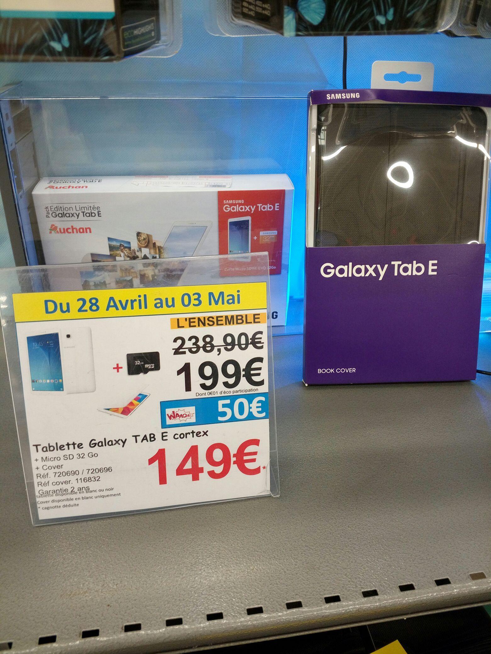 "Tablette 9.6"" Samsung Galaxy Tab E + micro sd 32gb + Cover officiel (via 50€carte Waaoh)"