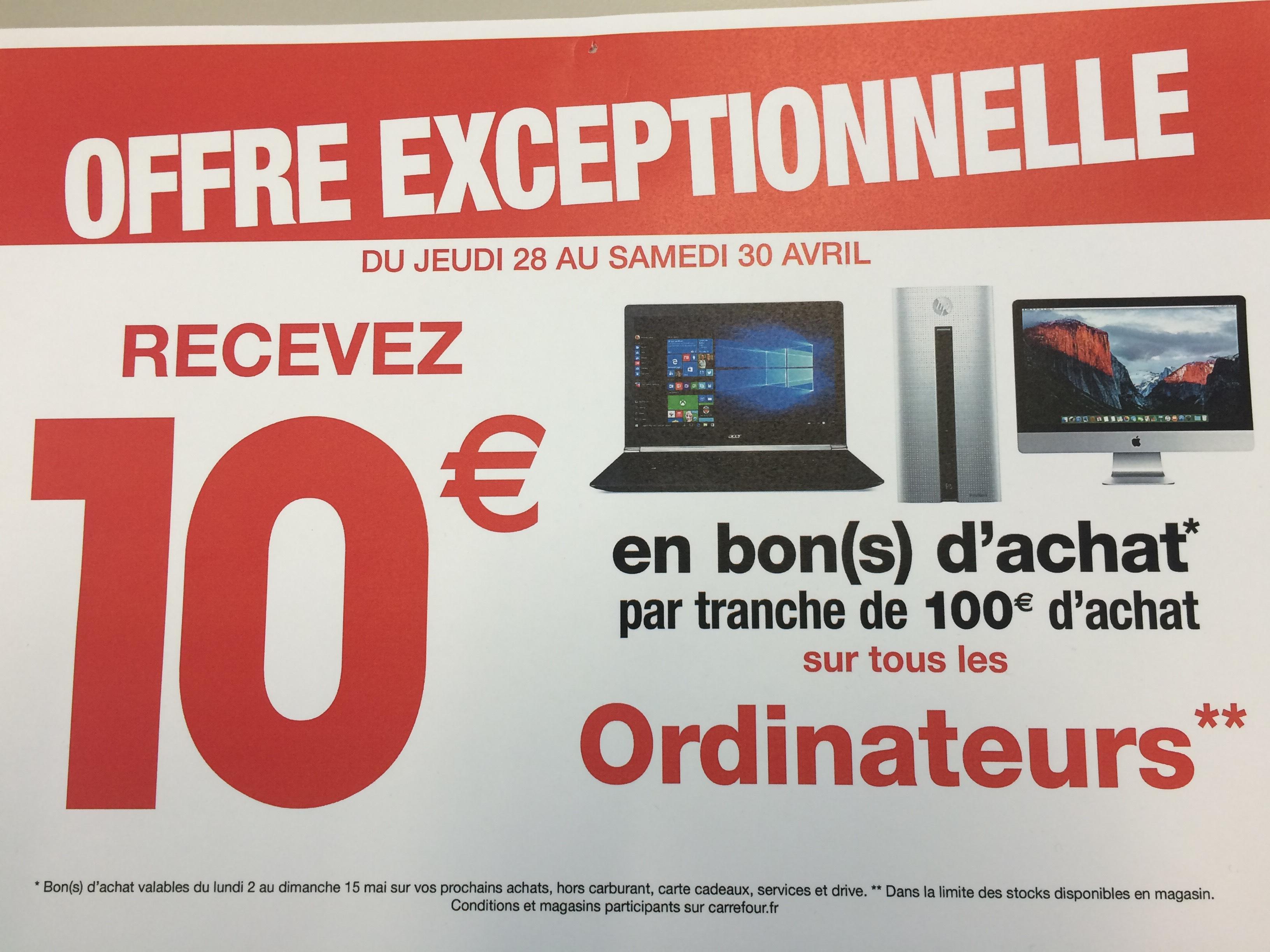 10€ offerts en bon d'achat par tranche de 100€ sur tous les PC et MAC