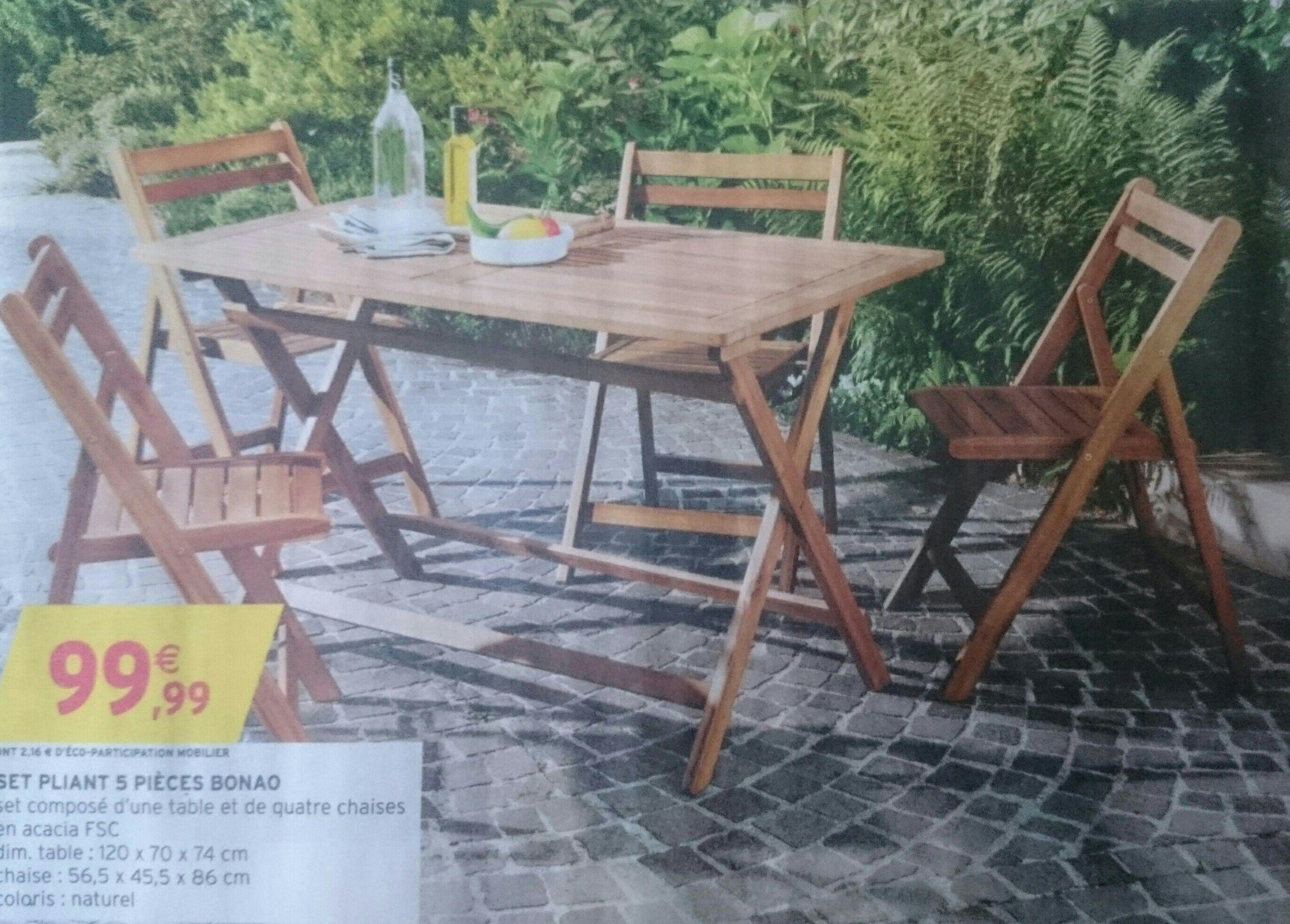 Salon de jardin en acacia FSC (avec table + 4 chaises)