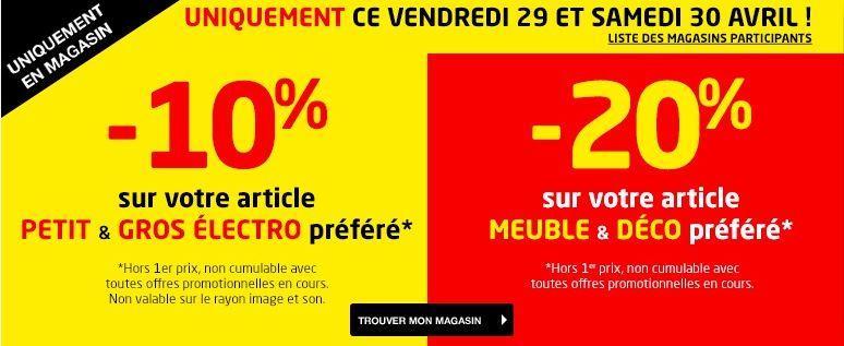 20% de réduction sur les Meubles & Déco et 10% sur Petit et Gros Electroménager