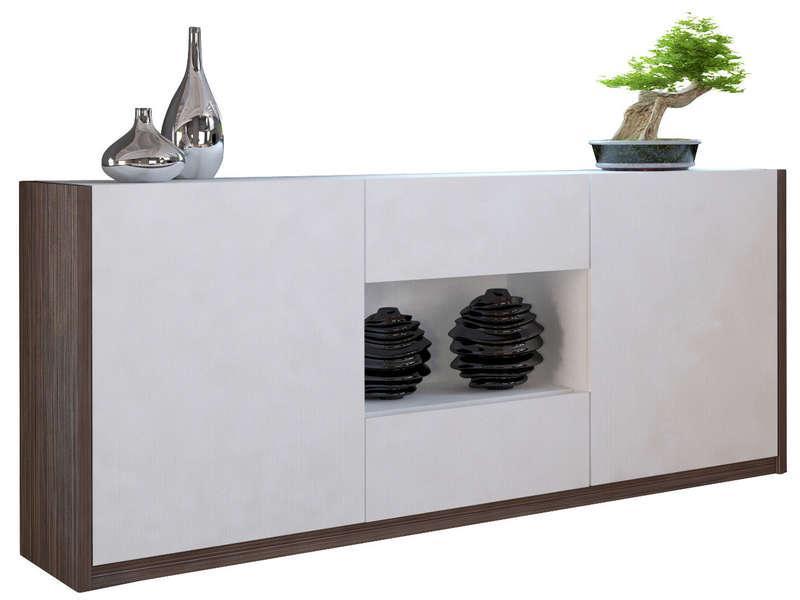 Buffet bas Otawa - 2 portes + 2 tiroirs, pin foncé cendré/blanc