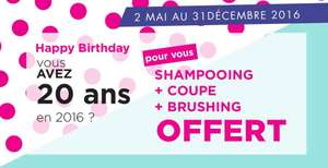 Shampoing + coupe + brushing offert si vous fêtez vos 20 ans
