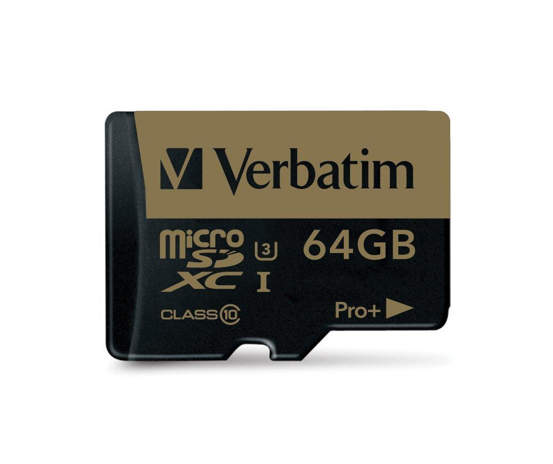 Carte microSDXC Verbatim U3 UHS-I Classe 10 (jusqu'à 90 Mo/s) - 64 Go