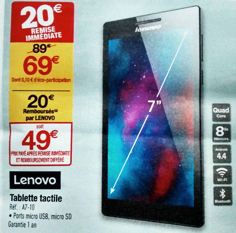 "Tablette 7"" Lenovo Tab 2 A7-10 Noir - 8Go (Via ODR 20€)"