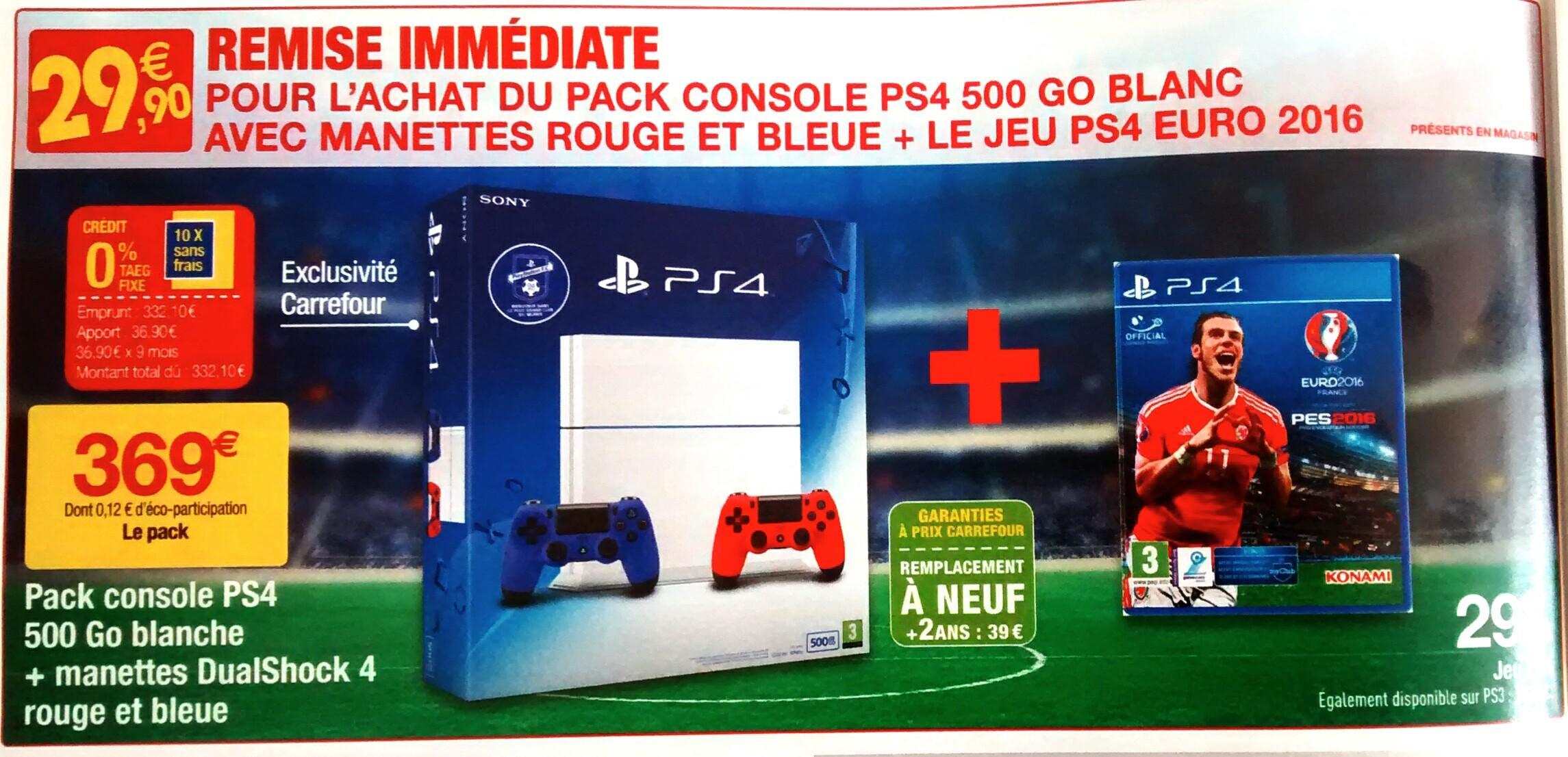 Pack Console PS4 500Go Blanche + 2 manettes Dualshock4 (Bleue et rouge) + PES Euro 2016