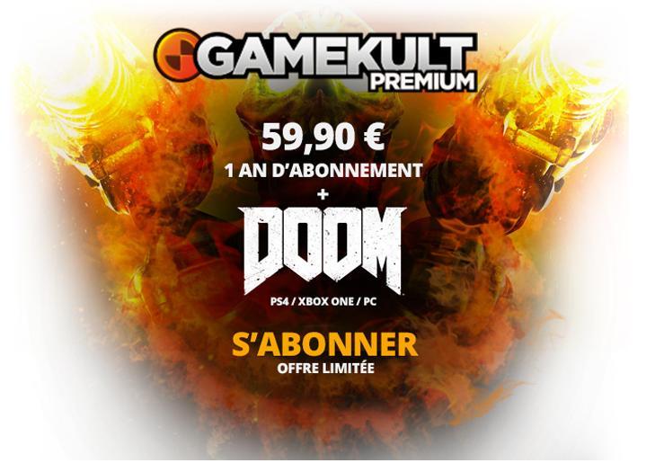Jeu DOOM sur PS4, PC ou Xbox One + Abonnement d'1 an au Premium Gamekult