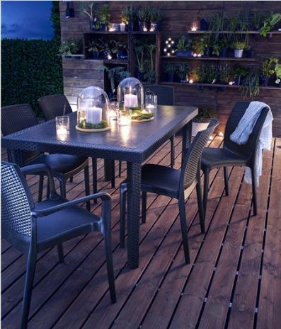 Salon de jardin Bohême (table + 4 chaises + 2 fauteuils)