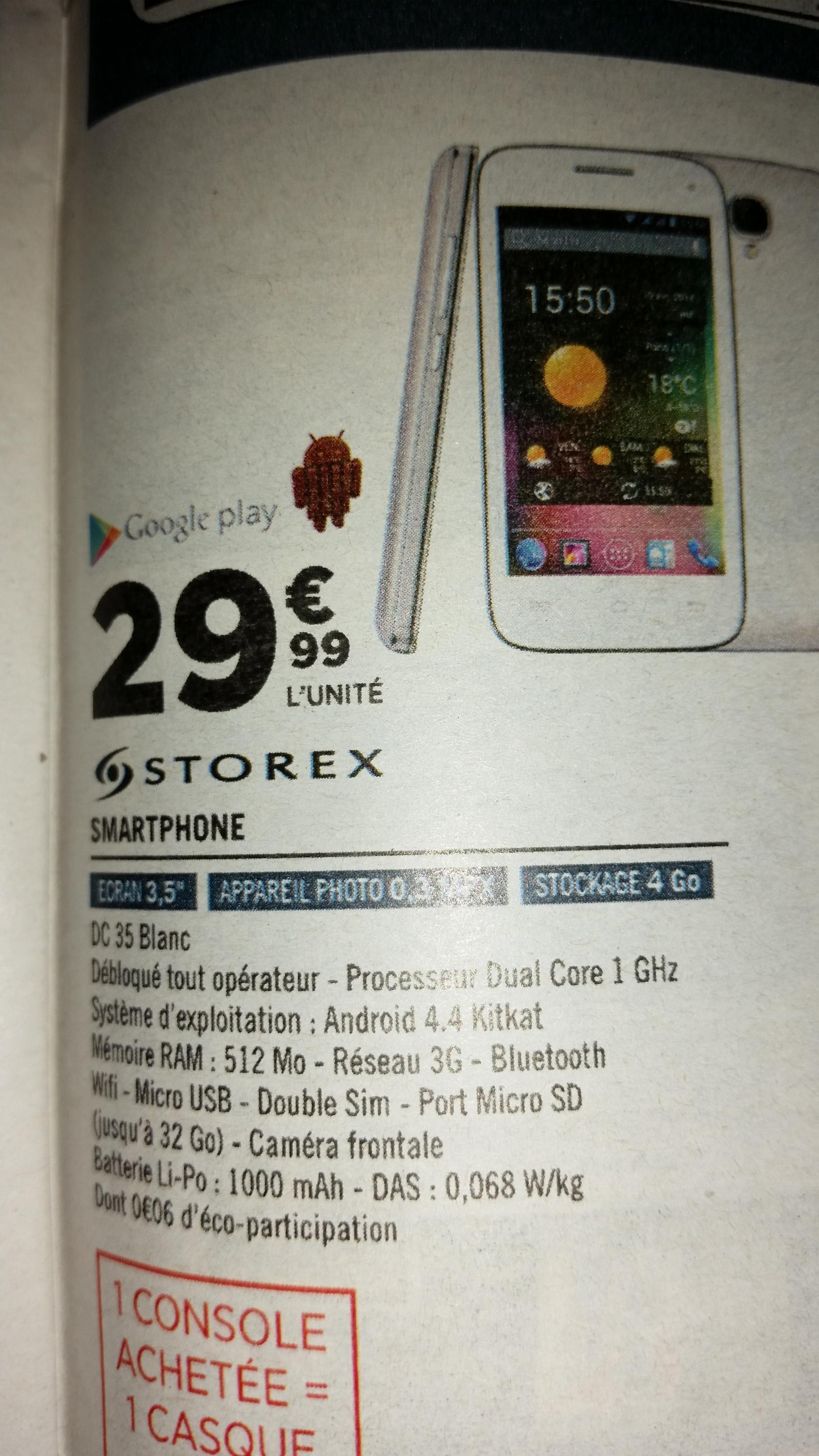 """Smartphone 3.5"""" Storex Dc 35 - 512 Mo de Ram, 4 Go"""