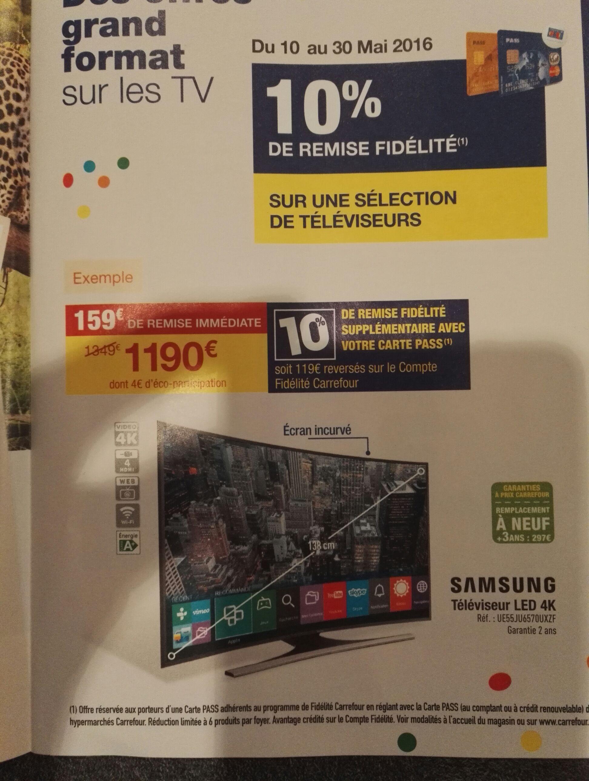 """[Carte Pass] TV 55"""" Samsung UE55JU6570 - Led, 4K, Incurvé (via 119€ fidélité)"""