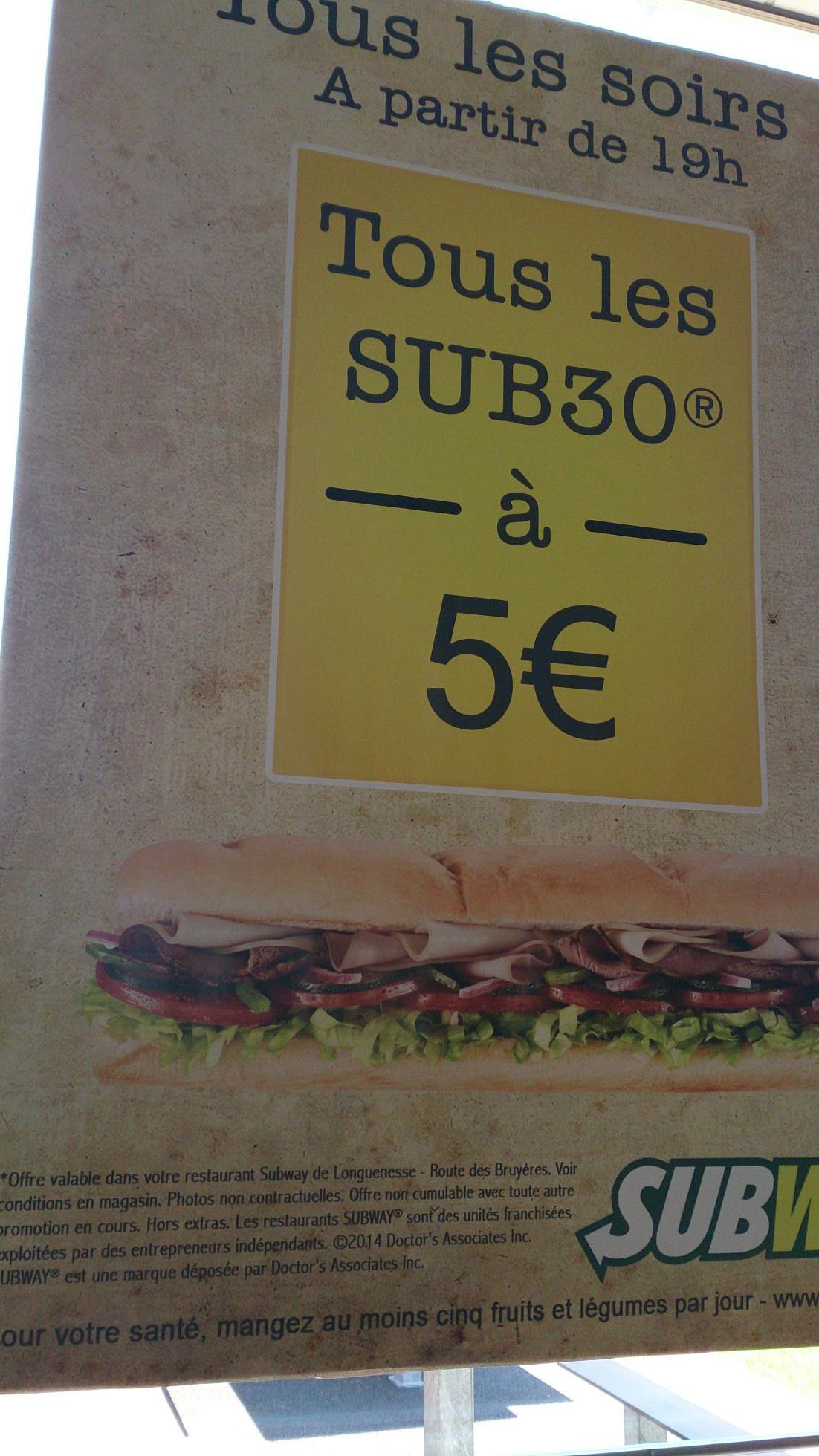 Sandwich Sub 30 au choix à partir de 19h