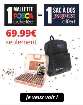 Mallette de 20 marqueurs Posca + sac à dos JanSport offert