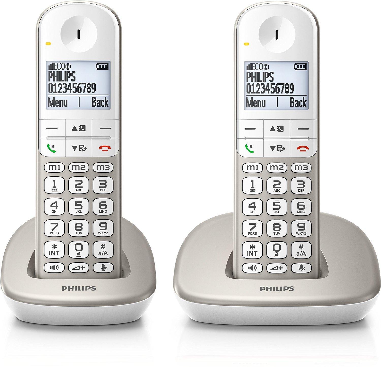 Téléphone fixe Sans-fil Philips XL490 Duo Silver - 2 combinés