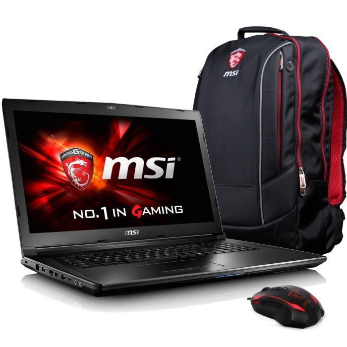 """PC portable 17.3"""" full HD MSI GL72 6QF-450XFR (i5-6300H, GTX960M, 8 Go de RAM, 1 To, sans OS) + Pack Gaming"""