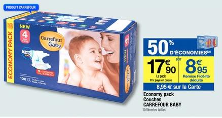 Pack de 100 Couches Carrefour Baby (-50% crédités sur carte de fidélité)