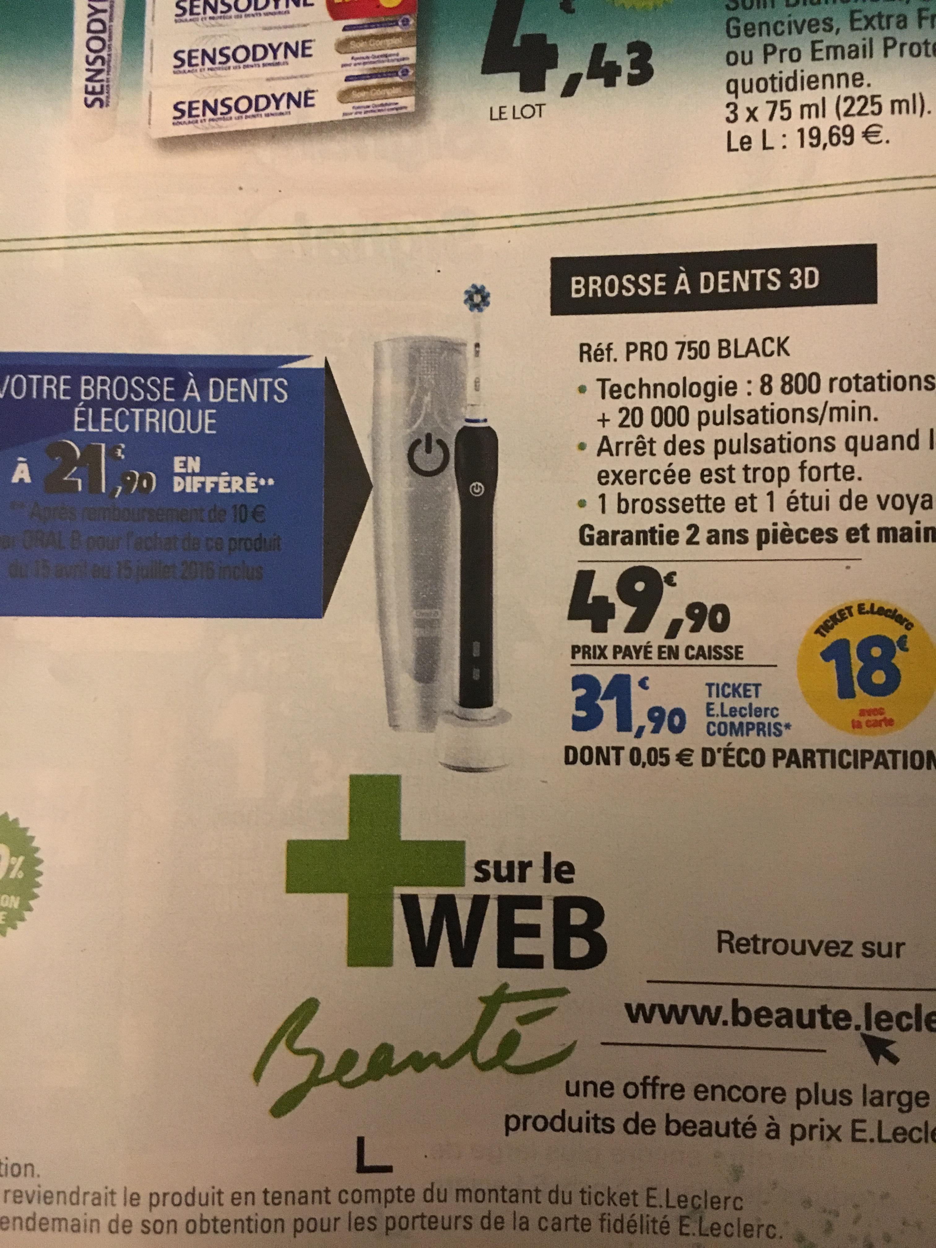 Brosse à dent électrique Oral-B Pro 750 - Noir (avec 18€ sur la carte + ODR 15€)
