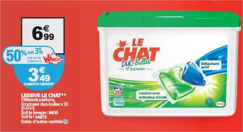 Lessive en capsules Le Chat Duo-Bulles (via 3.50€ sur la carte Waaoh + BDR)