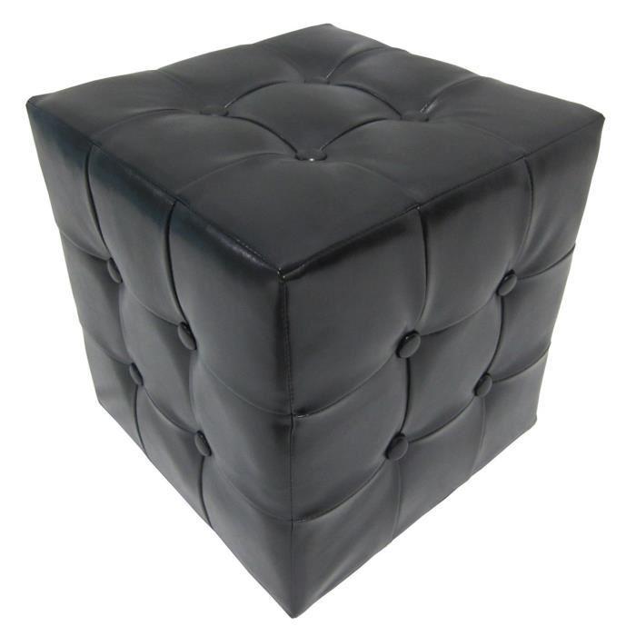 Pouf Chester en simili (32x33cm) - Noir