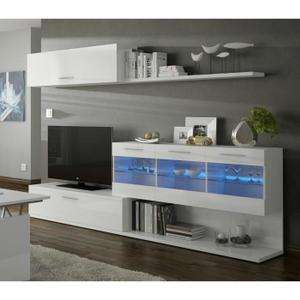 Meuble TV Aral Blanc à fixations murales + LED -  260 x 41 x 84 cm