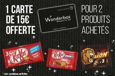 Une Carte cadeau Wonderbox d'une valeur de 15€ offerte en caisse pour l'achat de deux produits Nestlé
