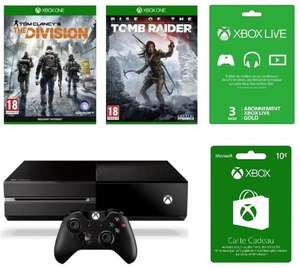 Console Microsoft Xbox One 1To + The Division + Rise of The Tomb Raider + Abonnement 3 mois Xbox Live + 10€ sur Xbox Store