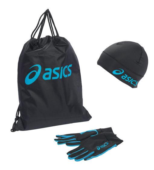 Lot d'accessoires de course Femme Asics (Sac de gym + gants + bonnet)
