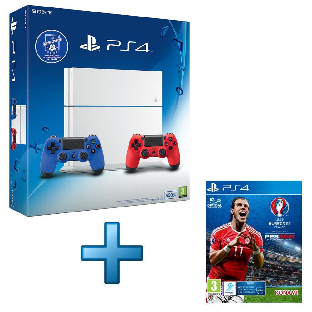 Console Sony PS4  500 Go, Blanche (Châssis C) + 2 Manettes DualShock 4 (Rouge et Bleue) + PES Euro 2016