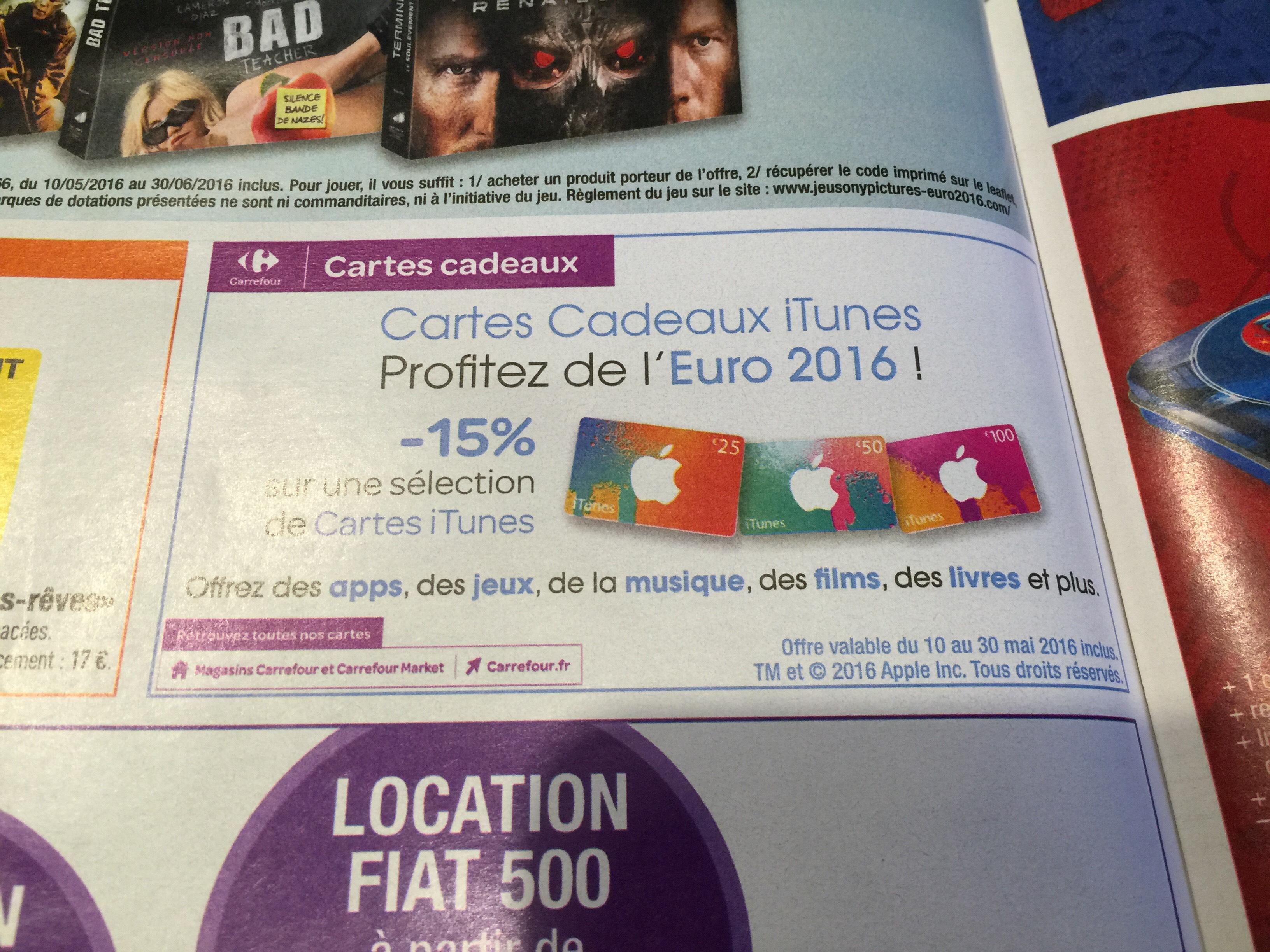 15% de réduction sur toutes les cartes iTunes - Ex : Carte cadeau iTunes d'une valeur de 50€