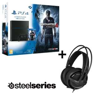 Pack PS4 1 To + Uncharted 4 : A Thief's End + Casque Micro Gaming Steelseries Siberia P300